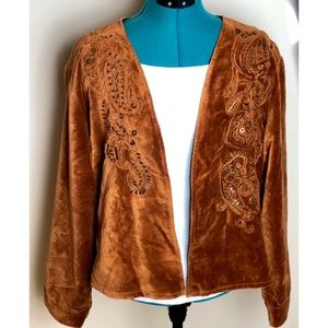 Chico's Velour Embroidered Jacket-Size 3